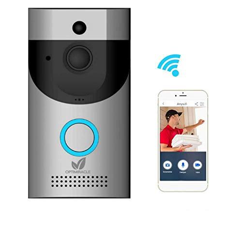 Video Doorbell Camera with Chime bell & Battery WiFi doorbell 720P HD wireless weatherproof CCTV home security two way talk IR night vision PIR motion detection sensor 166° lens Cloud APP control