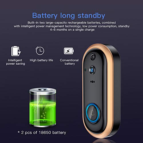 SDETER Video Doorbell 1080P Wireless Home Security Surveillance Rechargeable Battery Camera with Cloud Storage Motion Detection Alarm Night Vision Two-Way Audio Android iOS Real-time Video