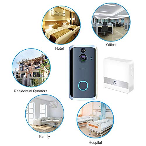 Pawaca Video Doorbell, Wireless Video Doorbell,Real-Time Two-Way Talk and Video, Night Vision, PIR Motion Detection and App Control for iOS, Android(With memory card and battery)