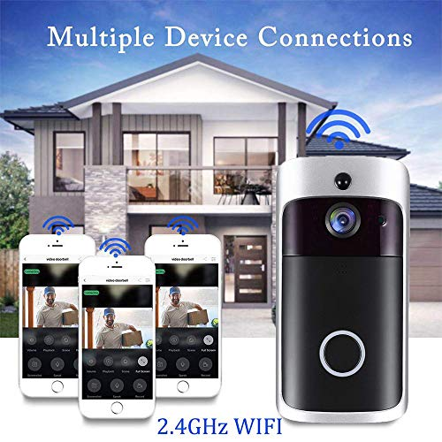 Wi-Fi Video Doorbell, 720P HD Smart Doorbell with 16G Card 166° Wide Angle Door View Security Camera, Two-Way Audio Talk, Motion Detection, Night Vision, App Remote Control for iOS/Android