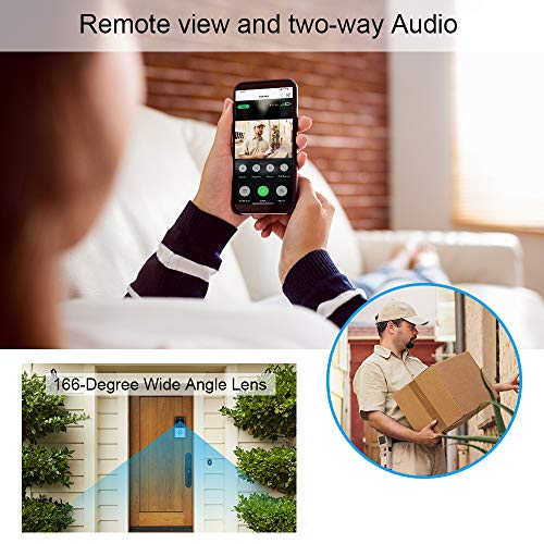 NewPal Smart Home WiFi Video Doorbell 720P HD Security Camera with 166-Degree Wide Angle Lens Two-Way Audio PIR Motion Detection Night Vision Wireless doorbell