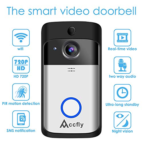 Wireless Video Doorbell Accfly WiFi Smart Doorbell with Chime 16G Card 720P HD 166° Wide Angle Door View Security Camera 2-Way Talk, Motion Detection, Night Vision, App Remote Control for iOS/Android