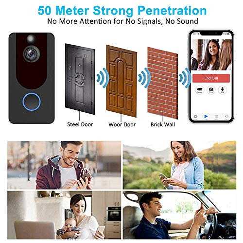Goglor WaterProof Video Doorbell, Wireless Video Doorbell,Real-Time Two-Way Talk and Video, Night Vision, PIR Motion Detection and App Control for iOS, Android(With memory card and battery)